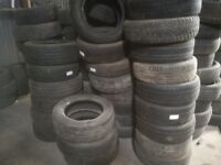 Approximately 350 car tyres