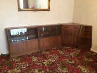 GPLAN 1950S VINTAGE G PLAN E GOMME BRANDON OAK BOOKCASES, CORNER BUREAU & END SHELVING UNIT