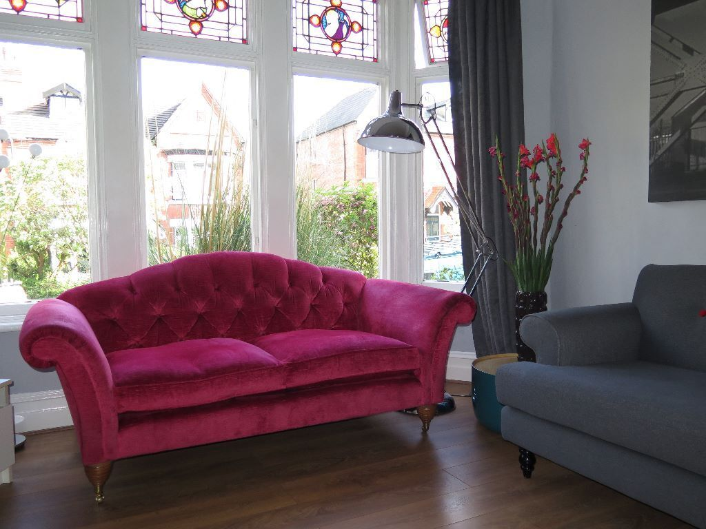 Cranberry Laura Ashley 39 Farnborough 39 Button Back 2 3 Seater Sofa On Castors In New Brighton