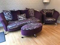 3 piece purple / grey sofa suite and foot stool