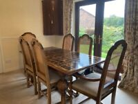 Beautiful solid wood dining table and 6 chairs, Barker and Stonehouse