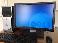 "Dell T1600 XEON Quad Core E3-1225 /16 GB Ram / 1.5TB / NVIDIA + 22"" FULL HD Monitor Desktop"