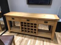 Solid Oak Wooden Cabinet With Wine Rack