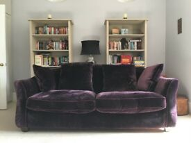 Lovely Sofa - Purple Velvet - Large 2 seater. Used, as New Condition. rarely used, mint condition.