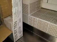 Batik Patchwork Tiles from Topps Tiles in beige - part box