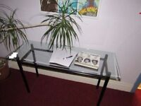 Glass topped Side Table, 1270mm x 450mm