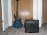 Bass Guitar and practice amp.