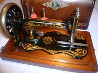 Antique Singer sewing Machine 12k fiddle base hand crank