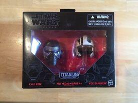 Star Wars Black Series Titanium Kylo Ren, Poe Dameron helmets Brand New