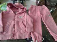 Girls Lacoste tracksuit, age 12-18 months