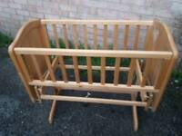 Baby wooden swing crib
