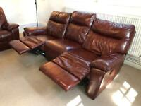 Recliner 3-seater leather sofa