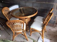 Glass round bamboo table and chairs