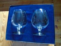 pair of Tiffany brandy snifter glasses