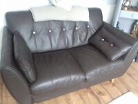 GORGEOUS -DFS French Connection Leather - 2 X 2 seaters and footstool-sofa/settee