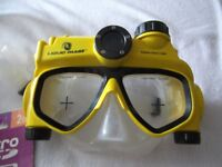 digital camera and vdeo underwater face mask for snorkelling in yellow