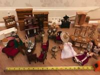 Antique dolls house furniture and dolls