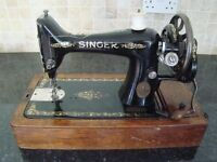 Antique singer sewing machine - hand crank - sews well - approx 1915