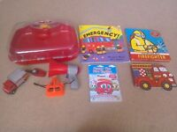 Fire Toy Bundle REDUCED Case and speaker fire engine + books + Finley DVD