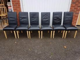 6 Black REAL Leather Chairs Oak Legs FREE DELIVERY 356