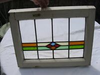 leaded glass window plus 10 other identical no broken or cracked glass 560mm x 390mm all top hung
