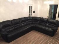 Black Leather Corner Sofa Suite