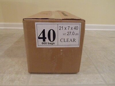 40 Clear Plastic Dry Cleaning Poly Bag Garment Bags 600 Bags - Made In Usa