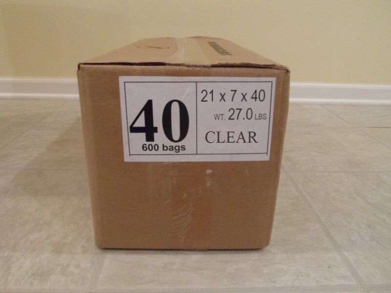 """40"""" CLEAR Plastic Dry Cleaning Poly Bag Garment Bags 600 BAGS - MADE IN USA"""