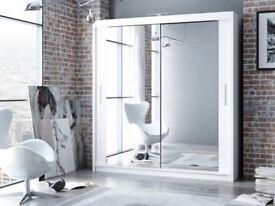 **BLACK WALNUT WHITE WENGE** NEW Berlin Full Mirror 2 Door Sliding Wardrobe in All Sizes Available
