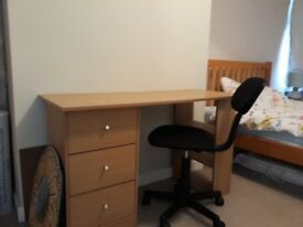 3 draw wooden desk with chair