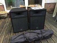 Peavey PRO 12P Active PA Speakers + Stands (One Blown Driver)