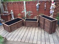 Garden Trough Flower or Vegetable Planters - Low version - hand Made from wood - Large Size