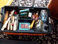 Tool box and trolley with good selection of hand and electric tools