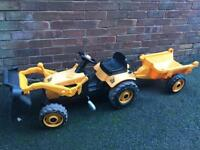 JCB TRACTOR & TRAILER KIDS RIDE ON TOY