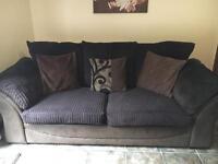 Two 3 seater sofas plus storage foot stool