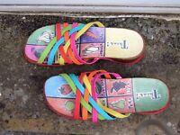Multi-coloured, strappy sandals size 7