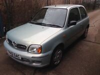 Low mileage and long mot November Nissan Micra 1.0 3dr 2001