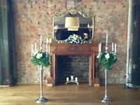 Beautiful floor standing candelabras for hire. Ideal for weddings or events. 1.5m tall
