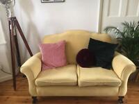 Yellow Suede Sofa and Armchairs