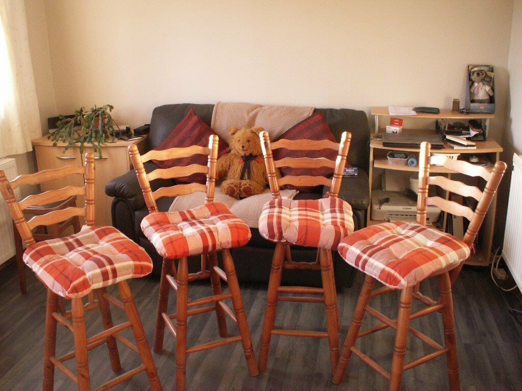 Awesome 4 X Pine High Back Kitchen Stools In Scone Perth And Kinross Gumtree Squirreltailoven Fun Painted Chair Ideas Images Squirreltailovenorg