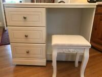 White dresser/desk with chic stool to match