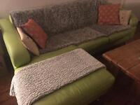 Pistashio Leather DFS Chez Lounge 3 Seater Sofa