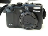 Canon PowerShot G12 10.0MP Digital Camera - RAW+JPG With case, SD Card + extra battery