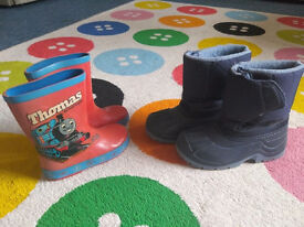 Kids Thomas Engine Wellies(size 9) + VIN-TEX Snowboot(size 13) £3 each