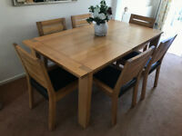 M&S Solid Oak Dining Table and 6 Chairs