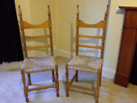 2 Pine Chairs with Rattan Seats