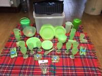 116 Piece Plastic Picnic Set - Green