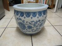 Blue and white planter.