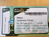 1 x ELBOW ticket. Delamere Forest. Fri 30th June 2017
