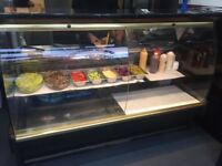 Patisserie / Kebab - Curved Glass Display Fridge Chiller - Over Counter serving
